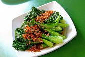 stock photo of kan  - A plate of stir fried chinese vegetables - JPG
