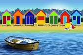 pic of beach-house  - Enjoying a sunny day on the beach - JPG