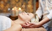Постер, плакат: people beauty spa healthy lifestyle and relaxation concept close up of beautiful young woman ly
