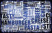 blau Essen Menühintergrund als Grunge Vorlage mat