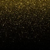 Gold glitter confetti background. Falling golden glittering snow or rain light effect for Christmas  poster
