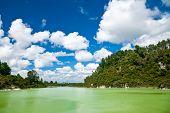 The green water of Lake Ngakoro at Wai-O-Tapu geothermal area in New Zealand