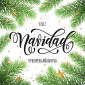 Feliz Navidad y Prospero Ano Nuevo spanish Merry Christmas and Happy New Year in frame of tree branc poster