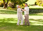 Senior couple dancing in the park