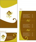 Template designs of European menu and business card for coffee shop and restaurant, vector file incl