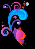 black background with color butterfly and graphic elements