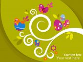 Easter greeting card with tree branch, eggs and flowers
