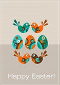 Easter greeting card with decorative eggs and birds, Vector illustration