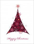 Plantilla de tarjeta de felicitación para el árbol de Navidad con motivos con un copos de nieve