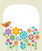 Plantilla de tarjeta de Pascua con flores y un pájaro