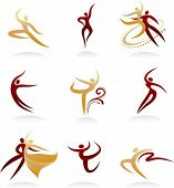 Collection of elegant dancing sillhuettes