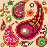 Exotic colorful paisley  wallpaper pattern
