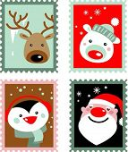 Christmas post stamps with Santa, reindeer, polar bear and penguin