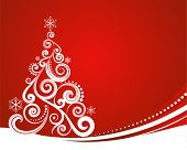 stock photo of swirly  - Red Christmas template with swirly tree - JPG