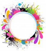 Abstract frame with color splashes
