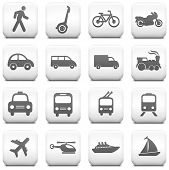 Transportation Icon on Square Black and White Button Collection Original Illustration