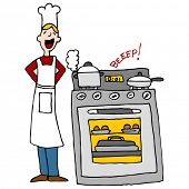 foto of beep  - An image of a chef next to an over cooking food with timer beeping - JPG