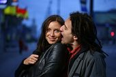 image of love couple  - Young loving couple in a city - JPG