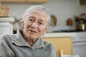 Porträt einer klugen senior Frau zu Hause