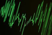 Audio, seismic or stock market wave diagram. Macro closeup, shallow DOF.