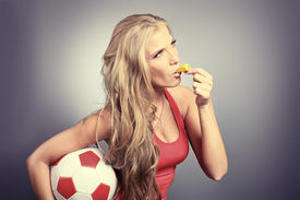 pic of beautiful young woman  - Shot of a sporty young woman with a ball - JPG