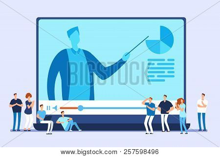 poster of Online Education. Video Tutorials, Internet Training And Web Course Vector Concept. Illustration Of