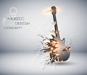 Music Guitar explosive background, easy editable