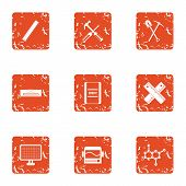 Chemical Attack Icons Set. Grunge Set Of 9 Chemical Attack Icons For Web Isolated On White Backgroun poster
