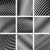 Abstract textured backgrounds in op art design. No gradient. Vector set.