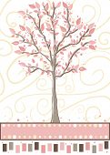 Tree - Cute pink greeting card