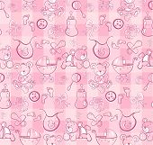 Seamless pattern - Cute baby pink pattern - vector version also available