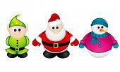 Santa Claus, Elf, Snowman vector illustration