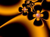 Fantasy Fractal Image With White Flowers. Original Template With Place For Inserting Your Text. Frac poster