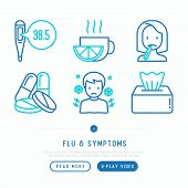 Flu And Symptoms Thin Line Icons Set: Thermometer, Temperature, Chills, Tea With Lemon, Pills, Tissu poster