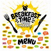 Breakfast Time, Good Morning, Fork, Knife, Menu. Lettering, Labels Logo Sketch Style Craft Pasta, Ve poster