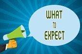 Word Writing Text What To Expect. Business Concept For Confusion About The Belief Of What Will Happe poster
