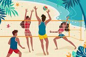 Young People Are Resting On Seashore. Concept Women And Men Playing Volleyball On The Beach. Vector  poster