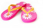 pink daisy flipflops