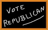 stock photo of caucus  - vote republican written on chalkboard - JPG