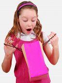 Happy Girl Opening Gift Bag