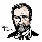 Louis Pasteur Watercolor Vector Portrait With Ink Contours. French Biologist, Microbiologist And Che poster