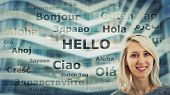 Student Girl Portrait And Word Hello Translated In Different Languages On Modern Background. Young S poster