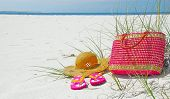 Pretty pink beach items on deserted shore