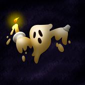 Little Ghost Candle Monster Character , Anime Style. poster