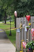 BEULAH, FL - JULY 14: A memorial outside the Billings family home is shown on July 14, 2009 in Beulah, Florida. Police are investigating the murders of the couple during a recent home invasion.