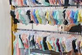 Womens Panties On The Hanger In The Store. Lingerie In The Store. New Lace Lingerie. poster