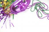 image of mardi gras mask  - Mardi gras mask and beads - JPG
