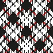 Black And White Tartan Diagonal Seamless Vector Pattern Checkered Plaid Texture Geometrical Simple S poster