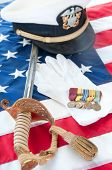 Medals and uniform pieces from World War II veteran