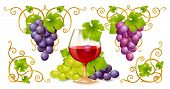 Grape elements, corners and wine glass